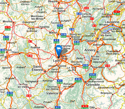 motorways and roads leading to Lyon
